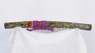 Tanto Japanese Short Sword Folded Steel Feather Grains Shell Saya Full Tang--Ryan1272