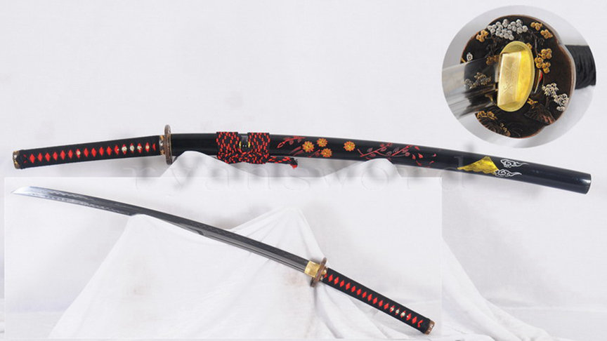 Light Cutting Katana Clay Tempered 1095 High Carbon Steel Double Hamon Hand-Drawn Saya--Ryan1291