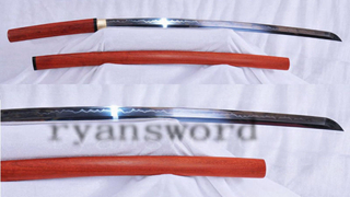 Shirasaya Katana 1095 Carbon Steel Blade Clay Tempered Red Wood Saya --Ryan157