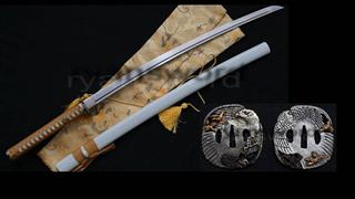 Folded Steel Katana Japanese Samurai Sword Copper Eagle Tsuba--Ryan181
