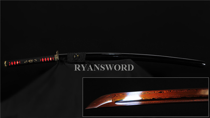Damascus Folded Steel Katana Japanese Samurai Sword Reddish Black Blade Brass Dragon Tsuba--Ryan206