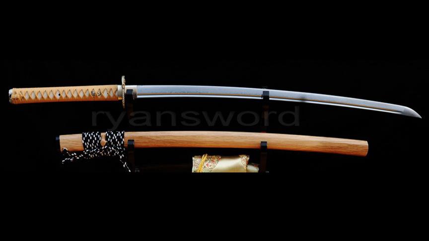 Handmade Folded Steel Japanese Sword Katana Eagle Tsuba FullTang White Wood Saya--Ryan219