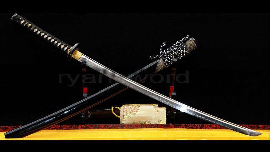Katana Clay Tempered 1095 High Carbon Steel Full Tang Half-Rayskin Saya--Ryan300