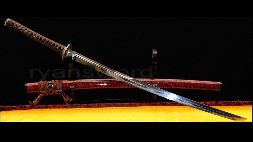 Katana 1095 High Carbon Steel Clay Tempered Brass Tsuba Full Tang--Ryan308