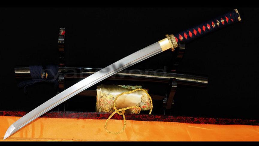 Wakizashi Folded Steel Japanese Sword Brass Tsuba Battle Ready--Ryan316
