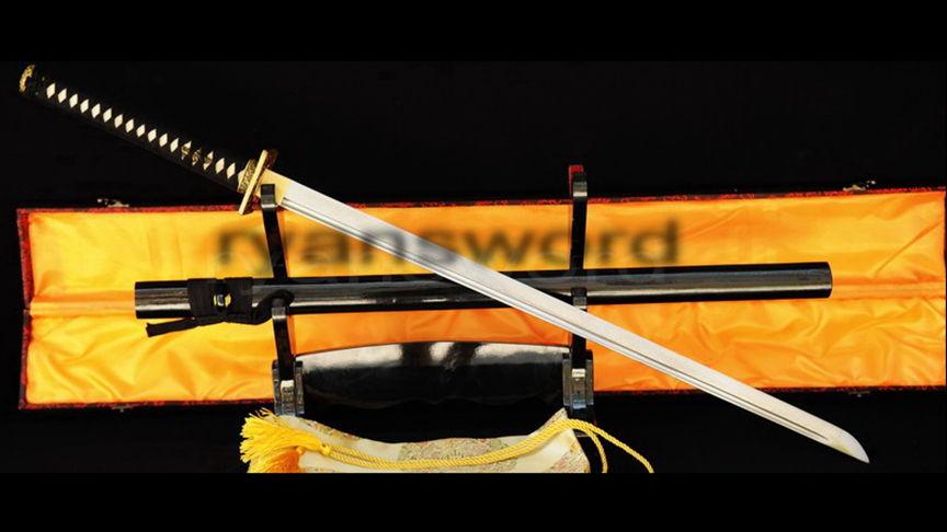 Ninjia Chokuto Straight Blade Folded Steel Square Brass Tsuba--Ryan317