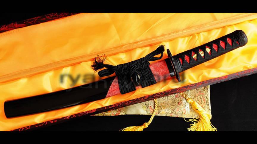 Tanto Japanese Short Sword Sanmai Clay Tempered Half-Rayskin Saya Sharp--Ryan319