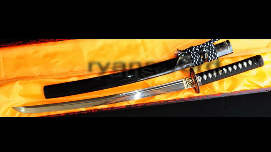 Wakizashi Japanese Sword 1095 Carbon Steel Clay Tempered Rayskin Saya--Ryan321