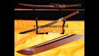 Wakizashi Folded Steel Japanese Sword Brass Tsuba Reddish Black Blade--Ryan322