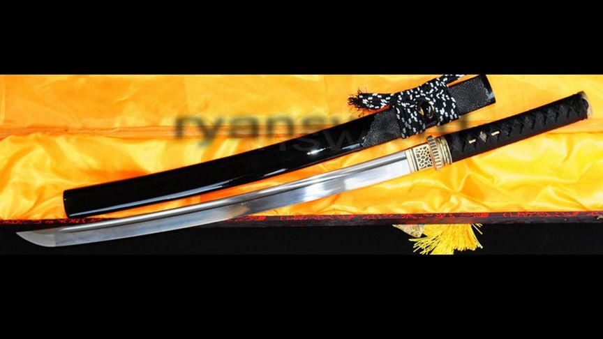 Wakizashi Folded Steel Blade Rayskin Saya Brass Tsuba--Ryan324