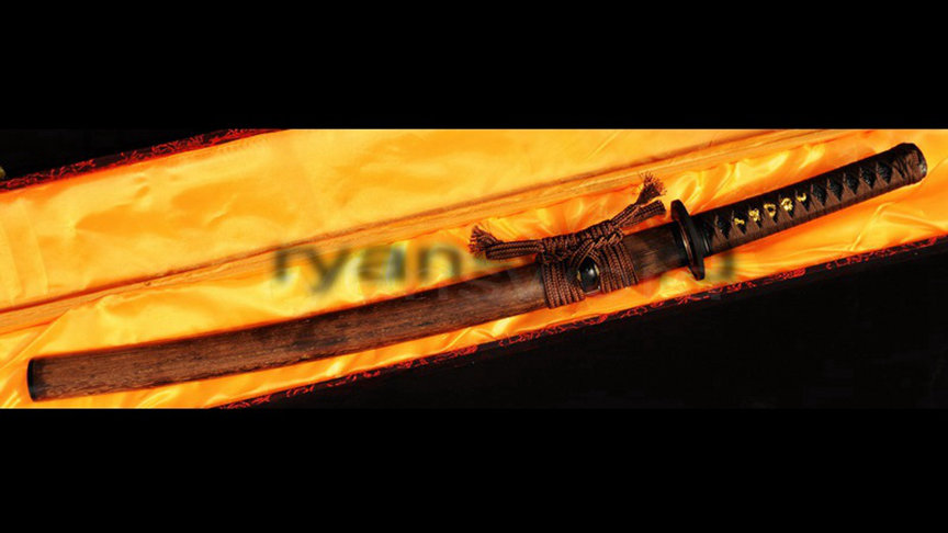 Clay Tempered Wakizashi Honsanmai 1095 Carbon Steel+Folded Steel Sharp--Ryan326