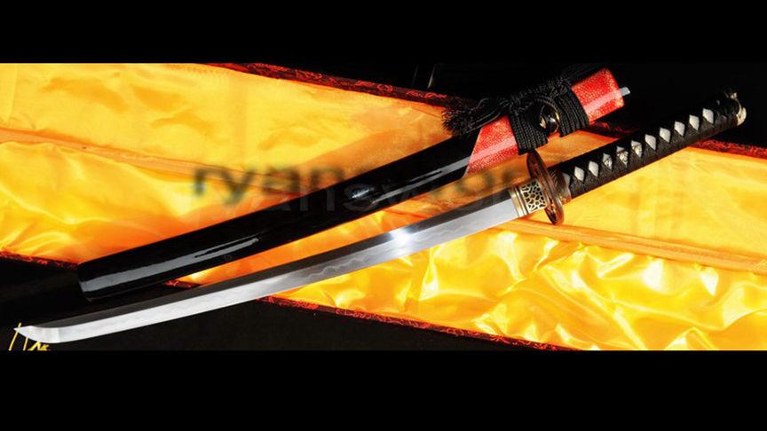 Clay Tempered Wakizashi Honsanmai 1095 Carbon Steel+Folded Steel Heavy Cutting--Ryan327