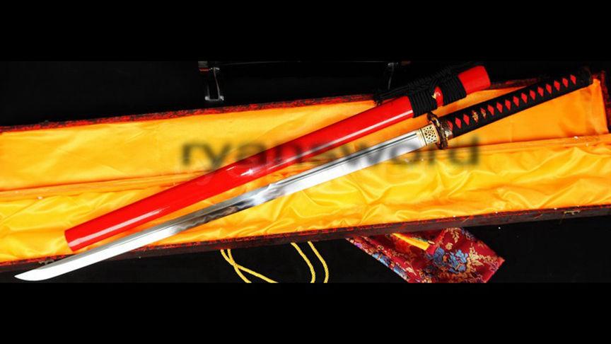 Ninja Straight Blade Clay Tempered Sanmain 1095 Carbon Steel+Folded Steel--Ryan330