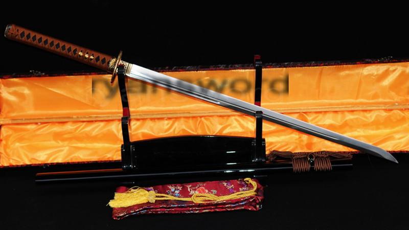 1095 High Carbon Steel Ninja Chokuto Copper Tsuba Black Saya--Ryan335