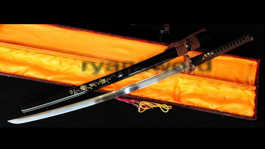 O-Kissaki Katana 1095 High Carbon Steel Blade Shell Saya Copper Frog Tsuba--Ryan343