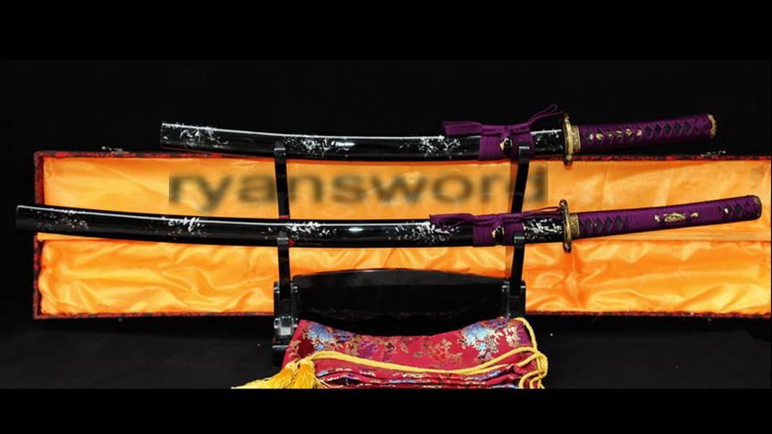 Baisho Katana+Wakizashi Japanese Sword 2 Piece Set Brass Tsuba-Ryan346