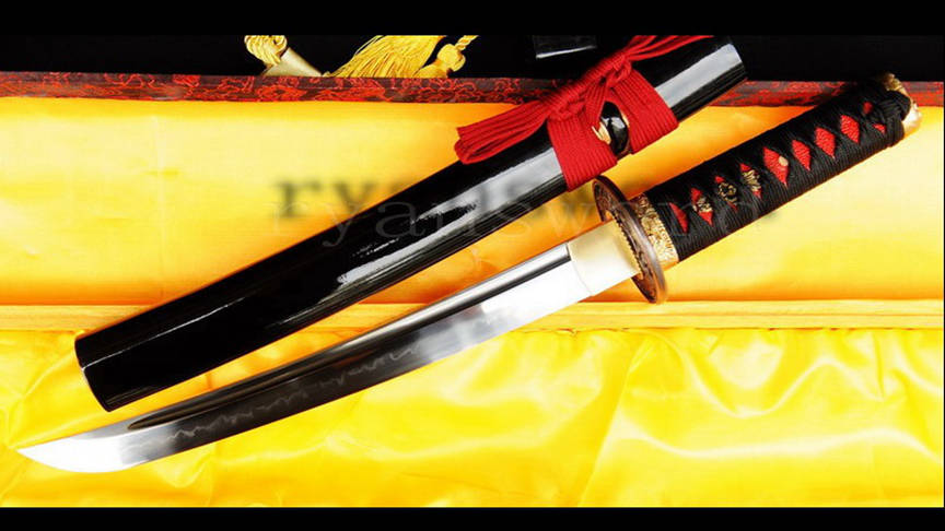 Clay Tempered Tanto Japanese Short Sword 1095 Carbon Steel Battle Ready--Ryan736