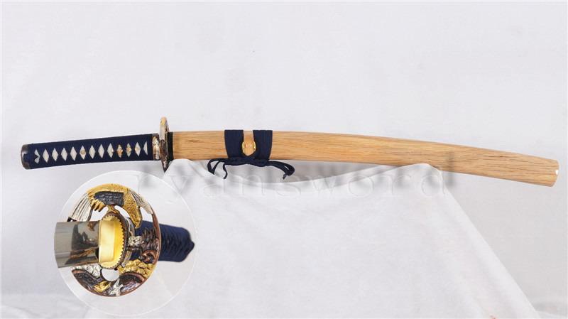 Wakizashi Damascus Folded Steel Blade Copper Eagle Tsuba Sharp--Ryan738