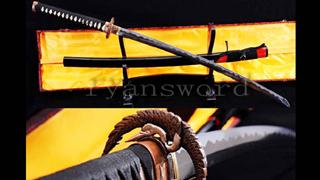 1095 High Carbon Steel Katana Abrasived Hamon Copper Crane Tsuba--Ryan762