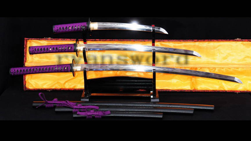 Dashio Japanese Sword Set Katana+Wakizashi+Tanto Honsanmai Clay Tempered--Ryan782