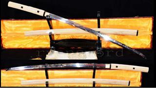 Katana Japanese Sword Shirasaya 1095 Steel Clay Tempered Mirrorlike Bright Blade--Ryan785