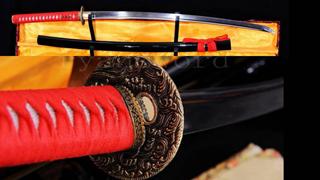 Folded Steel Katana Japanese Sword Brass Tsuba Full Tang Sharp--Ryan794