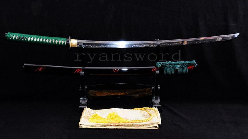 Clay Tempered Katana 1095 Carbon Steel Japanese Sword Mirrorlike Shiny Blade--Ryan819