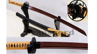 Light Cutting Wakizashi Folded Steel Reddish Black Blade Iron Tsuba--Ryan831