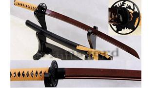 Light Cutting Wakizashi Folded Steel Reddish Black Blade Iron Tsuba--Ryan831