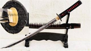 O-Kissaki Wakizashi Japanese Sword Unokubi-Zukuri Blade 1095 Carbon Steel Battle Ready--Ryan838