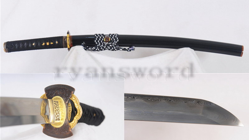 Honsanmai Wakizashi Clay Tempered Copper Tsuba Battle Ready--Ryan855
