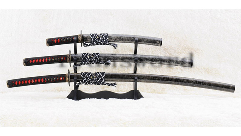 Dashio Japanese Sword Set Katana+Wakizashi+Tanto Honsanmai Clay Tempered Full Rayskin Saya--Ryan889