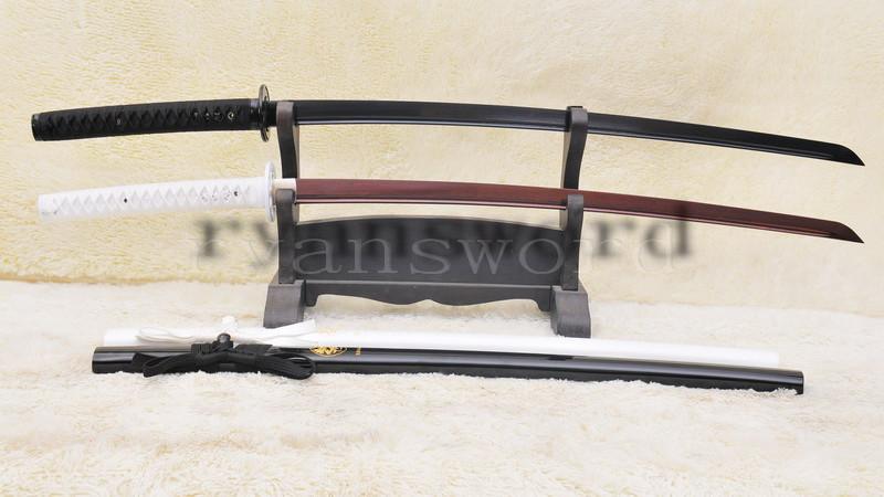 Baisho Black+White Katana Japanese Sword Set Folded Steel Reddish Black--Ryan895