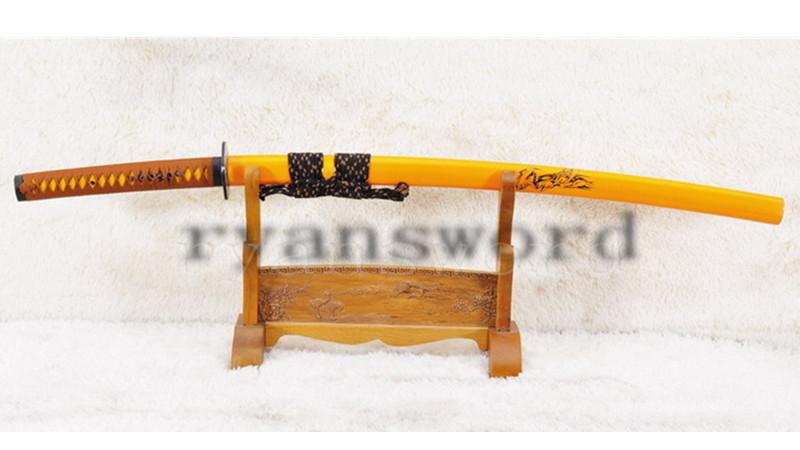 1095 Carbon Steel Katana Japanese Sword Iron Tsuba Grim Reaper Motif--Ryan909