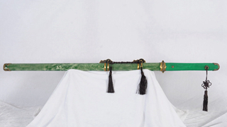 Tang Dao Straight Blade Clay Tempered Chinese Sword Genuine Full Rayskin Green--rsd408