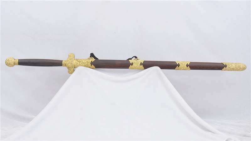 Double Edged Jian Chinese Sword Folded Steel Blade Brass Fittings--rsj208