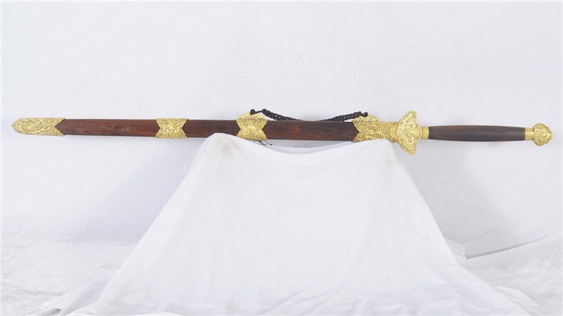 Chinese Sword Folded Steel Blade Double Edge Brass Fittings--rsj212
