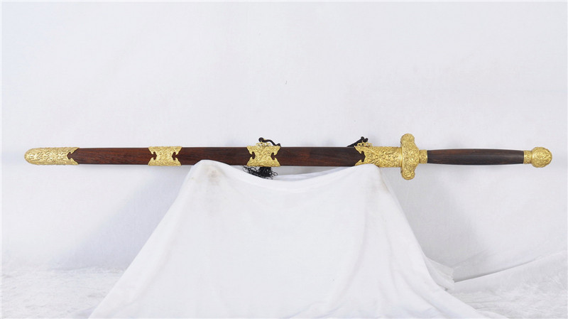 Handmade Chinese Sword Jian Folded Steel Blade Double Edge Brass Fittings--rsj213