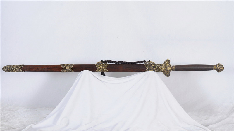 Chinese Sword Folded Steel Blade Double Edge Archaize Brass Fittings--rsj218