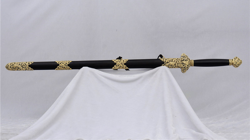 Handmade Chinese Sword Double Edge Jian Ebony Scabbard Brass Fittings--rsj220