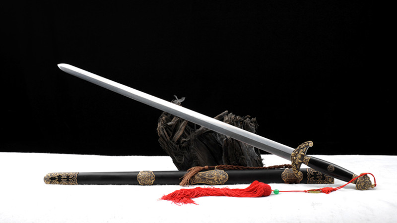 Qianlong's Saber Chinese Sword  Double Edge Ebony Scabbard Hand-Carved Brass Fittings--sgl3089
