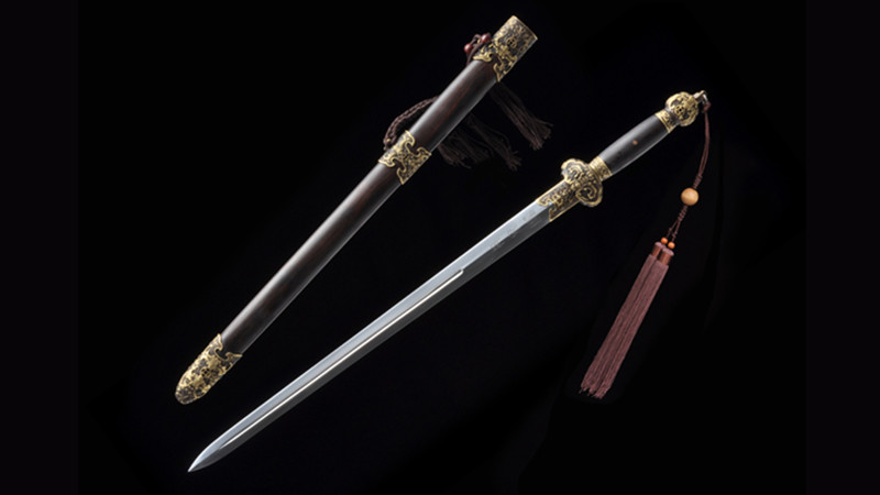 Small Jin Fu Jian Chinese Sword Double Edge Ebony Scabbard Hand-Carved Brass Fittings--sgl7007