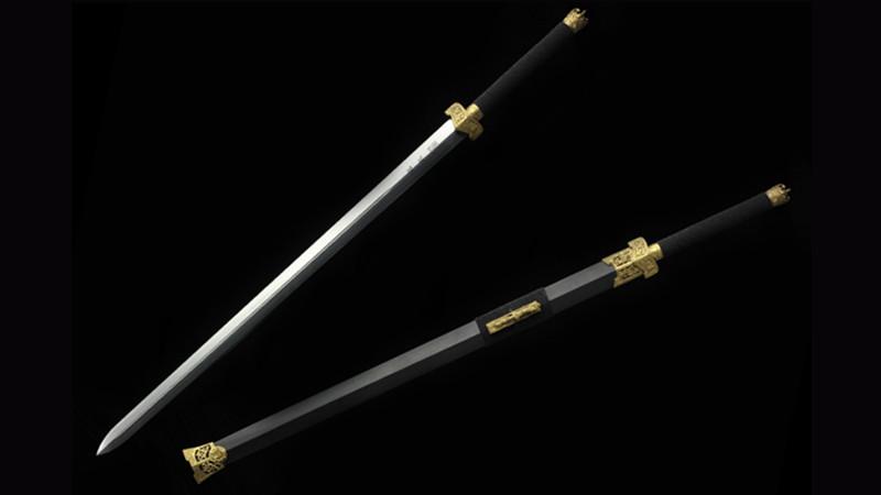 Warring States Long Jian Chinese Sword Double Edge Brass Fittings Ebony Scabbard--sgl3005