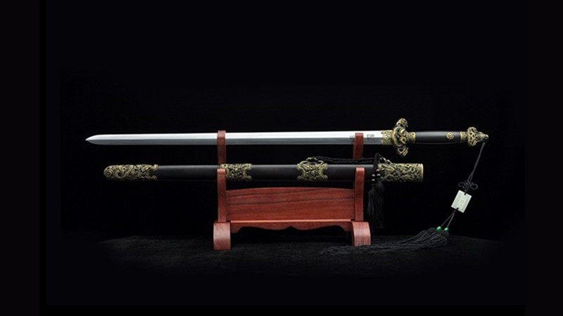 Nine-Dragon Jian Chinese Sword Double Edge Ebony Scabbard Hand-Carved Brass Fittings--sgl3057