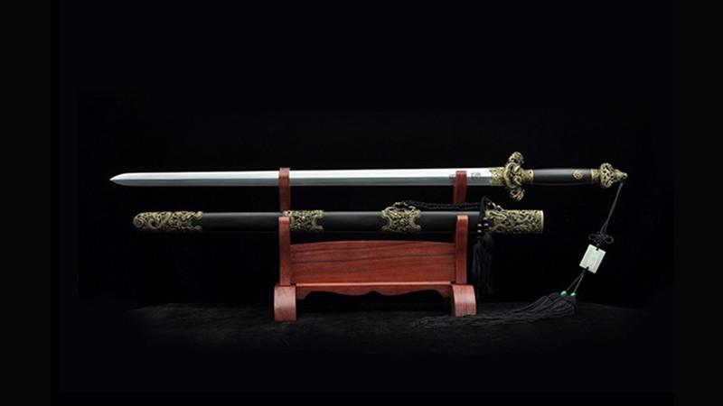 Nine-Dragon Jian Chinese Sword Double Edge Ebony Scabbard Hand-Carved Brass Fittings--sgl3057