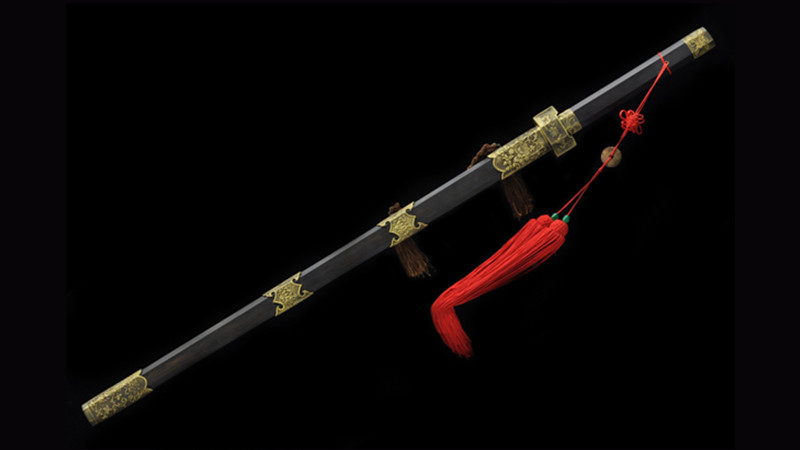 Dan Ping Jian Chinese Sword Double Edge Ebony Scabbard Hand-Carved Brass Fittings--sgl3063