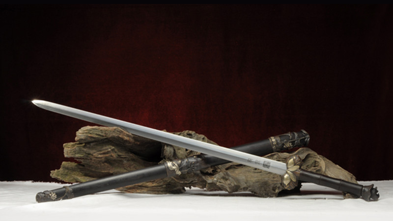 Lotus Holy Jian Chinese Sword Ebony Scabbard Hand-Carved Brass Fittings--sgl3065