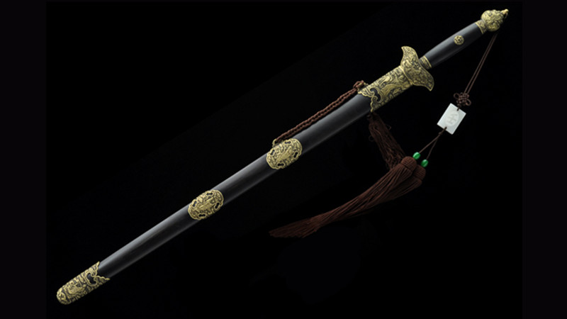 Eight Immortals Jian Chinese Sword Double Edge Ebony Scabbard Hand-Carved Brass Fittings--sgl3075
