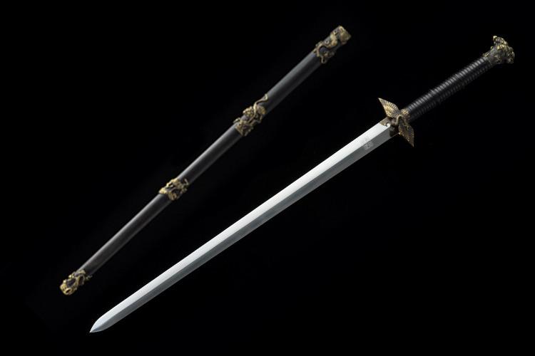 Crane Jian Chinese Sword Double Edge Ebony Scabbard Hand-Carved Brass Fittings--sgl3083