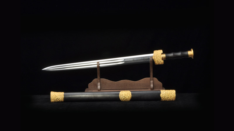Yue King Jian Wu Ren Chinese Sword Ebony Scabbard Gold Plated Brass Fittings--sgl3098